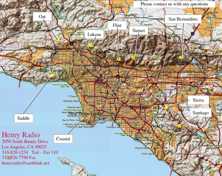 Trunking Map of radio repeater service for Los Angeles and Orange County